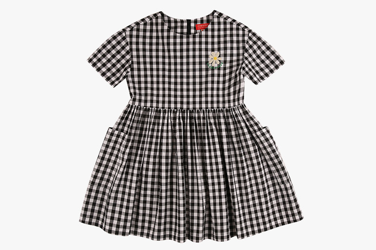 아이스비스킷 - Icebiscuit daisy check dress with oversize pocket