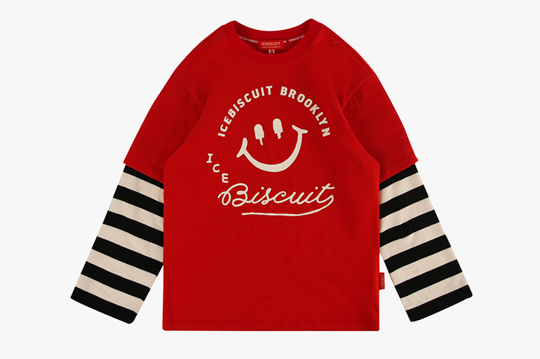 아이스비스킷 - Icebiscuit stripe double sleeve tee
