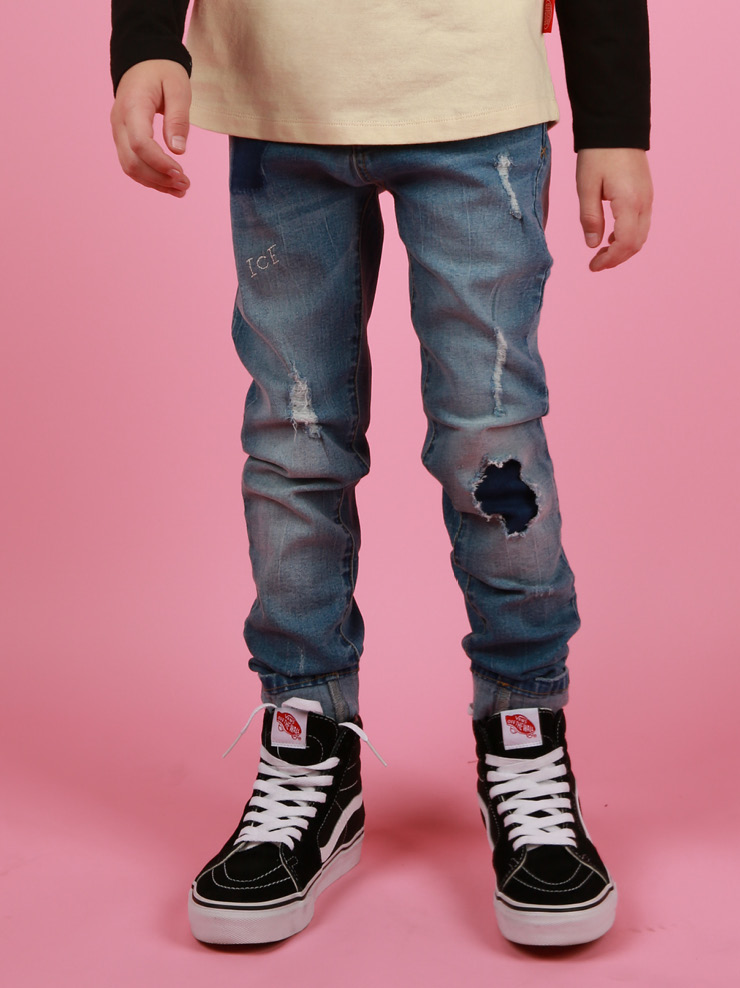 아이스비스킷 - Icebiscuit slim fit color block denim pants 30% sale