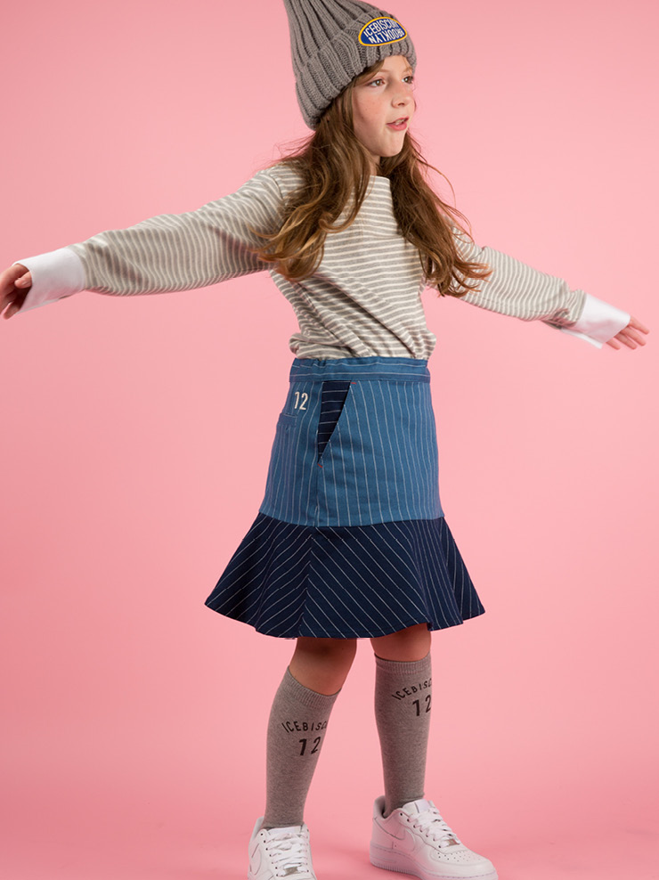 아이스비스킷 - Denim stripe color block skirt 20% sale