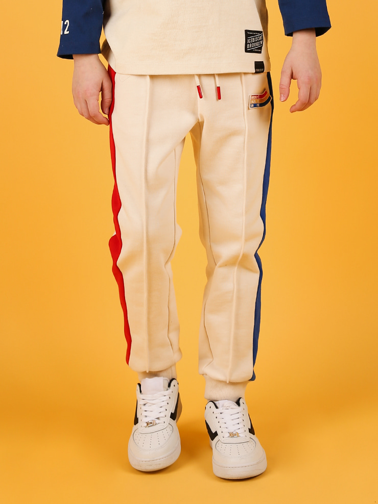 아이스비스킷 - Icebiscuit side color block sweat pants 20% sale