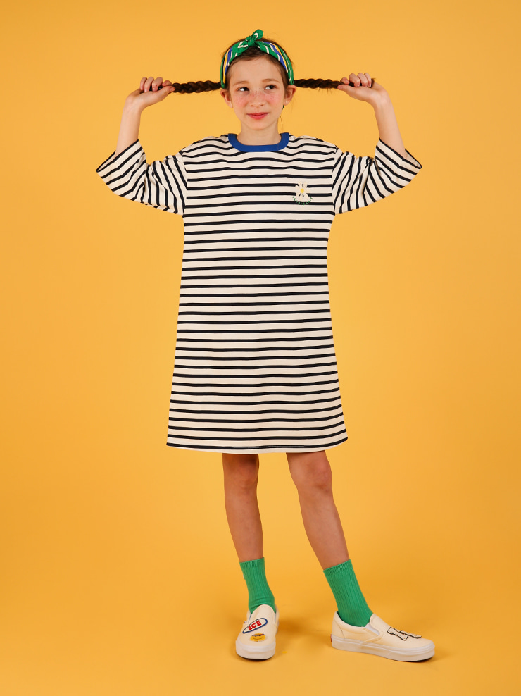 아이스비스킷 - Daisy point stripe dress