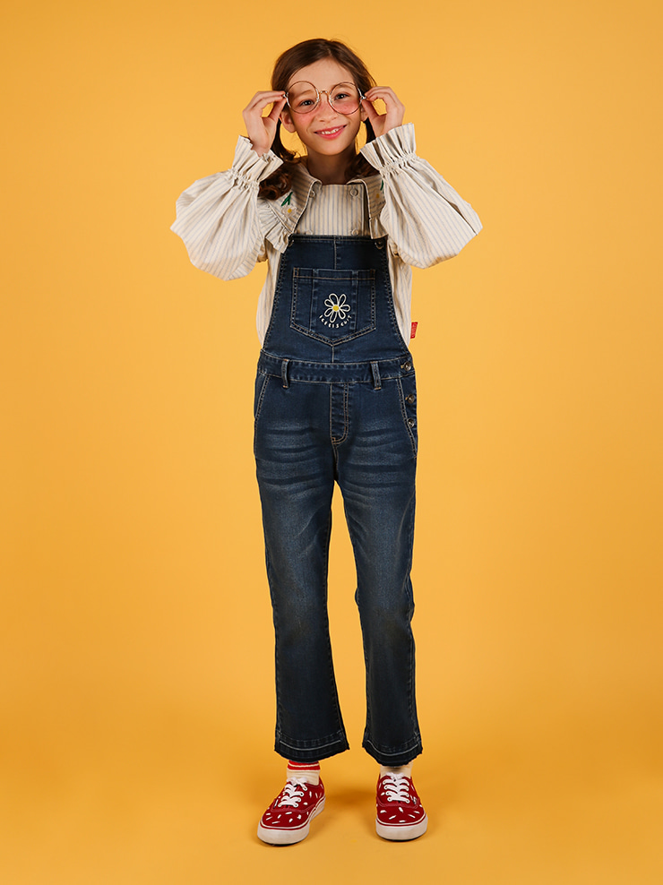 아이스비스킷 - Daisy boots-cut denim overall pants