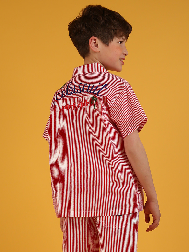 아이스비스킷 - Surf club stripe short sleeve shirts