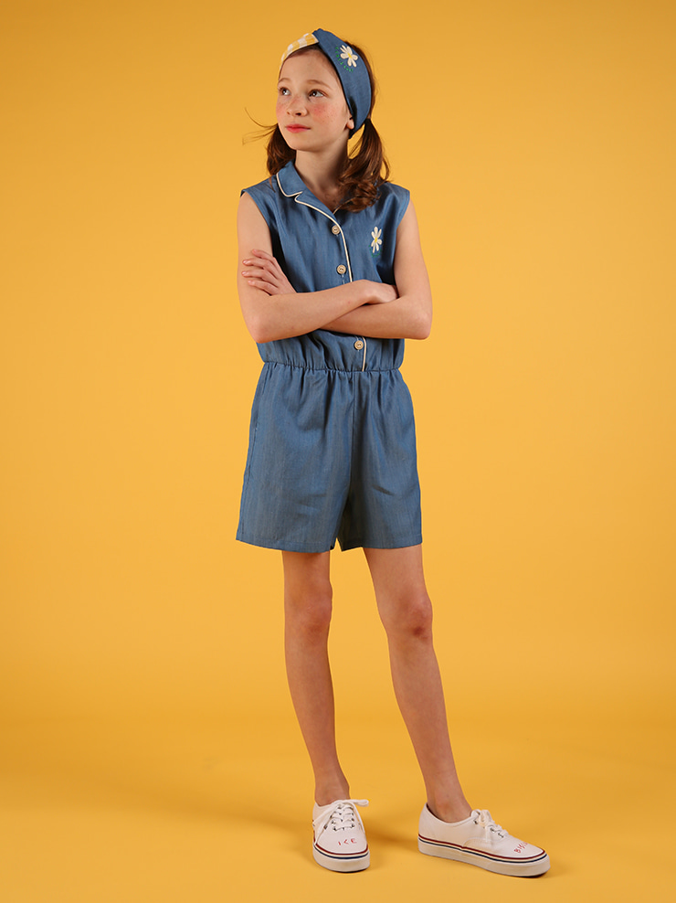 아이스비스킷 - Icebiscuit daisy sleeveless chambray jumpsuit 20% sale