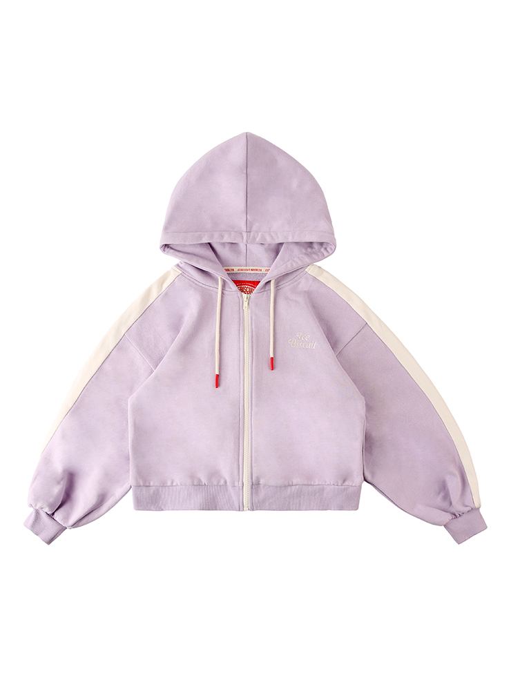 아이스비스킷 - Icebiscuit color block crop zip hoodie