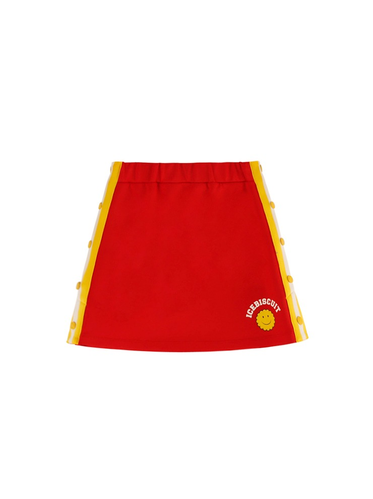 아이스비스킷 - Side snap red track skirt 20% sale