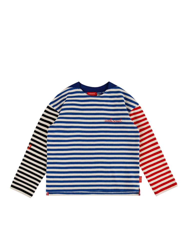 아이스비스킷 - Icebiscuit smile stripe color block tee