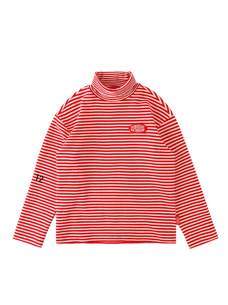 아이스비스킷 - Icebiscuit stripe turtleneck tee
