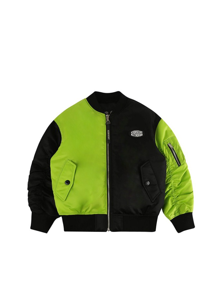 아이스비스킷 - Smile color block reversible bomber jacket