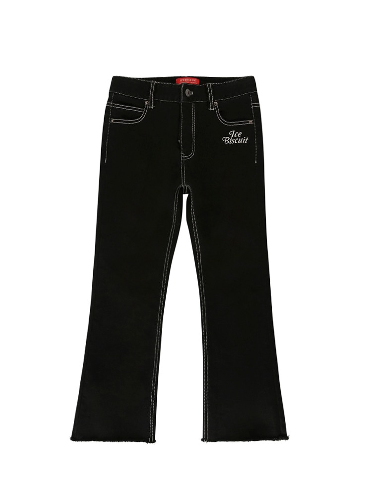아이스비스킷 - Icebiscuit back brushed boots-cut black denim pants (기모O)