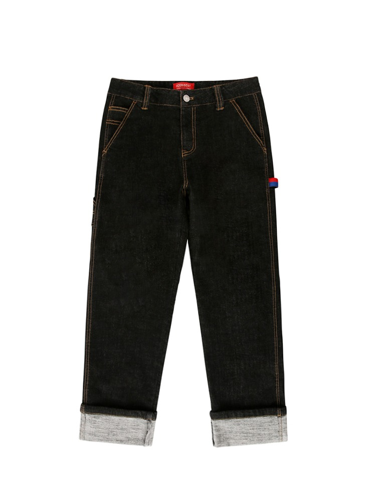아이스비스킷 - Icebiscuit back brushed black denim pants 20% Sale (기모O)