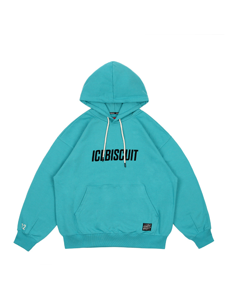 아이스비스킷 - Icebiscuit letter-print cotton hooded sweatshirt (ADULT SIZE)