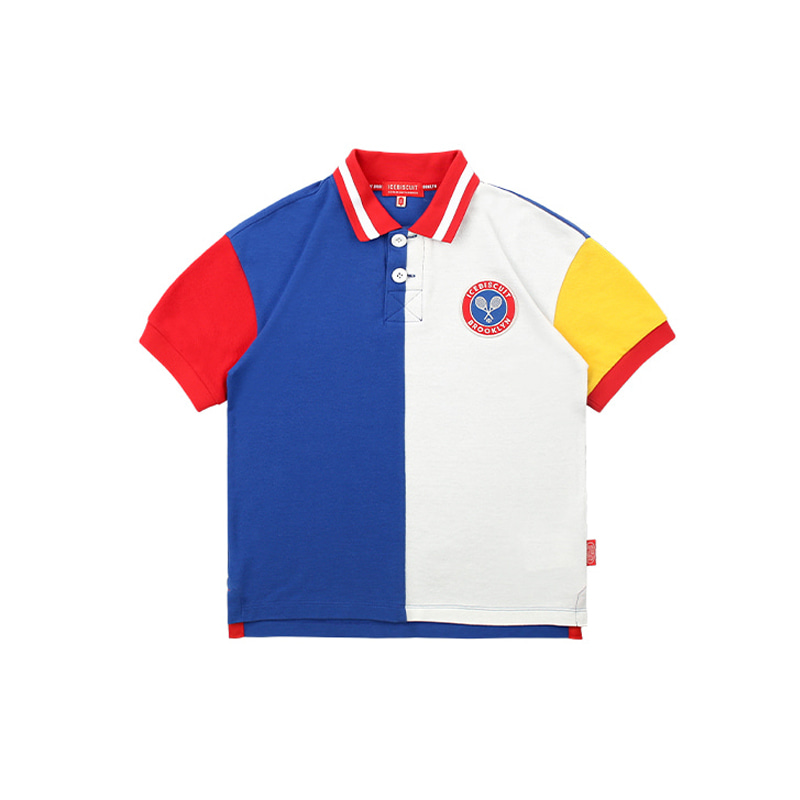 아이스비스킷 - Icebiscuit tennis emblem color block pique polo shirt 30% sale