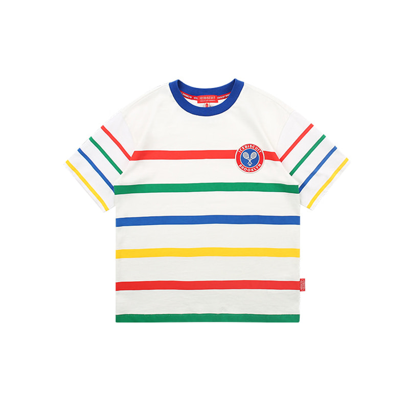 아이스비스킷 - Icebiscuit tennis emblem stripe short sleeve tee