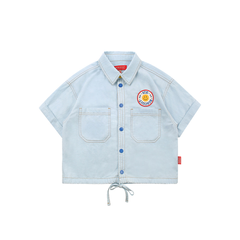 아이스비스킷 - Smile emblem strap detail denim shirts 30% sale
