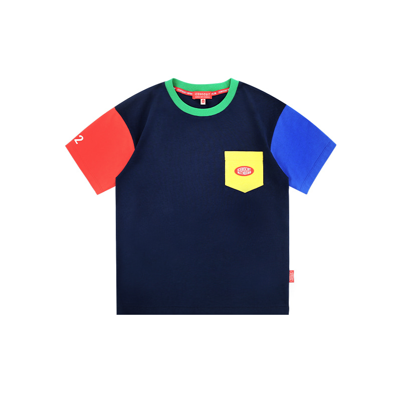 아이스비스킷 - Icebiscuit logo patch color block t-shirt 20% sale