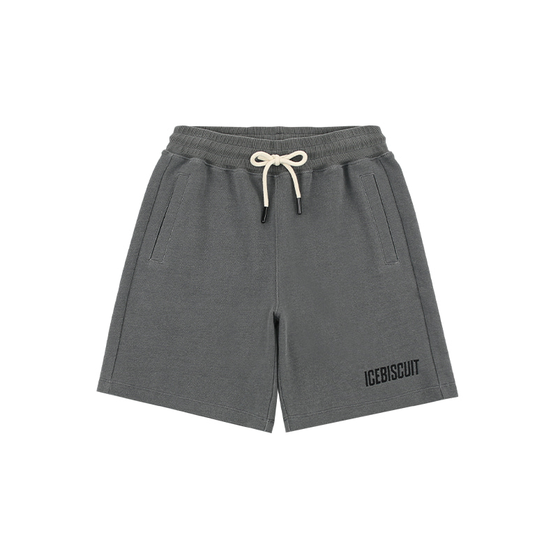아이스비스킷 - Icebiscuit logo graphic pigment dyed sweat shorts