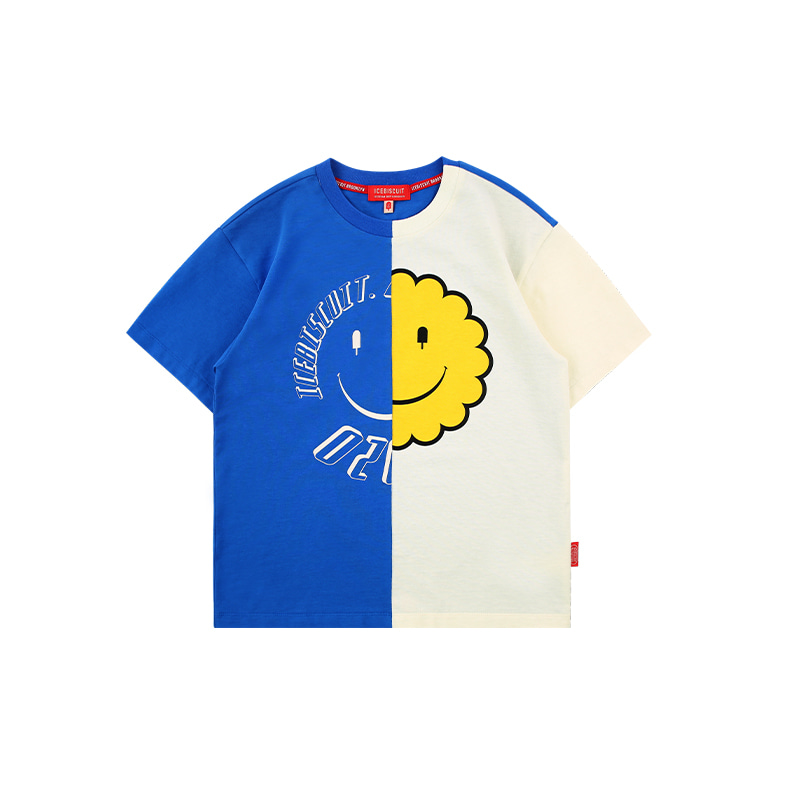 아이스비스킷 - Icebiscuit half smile paneled t-shirt