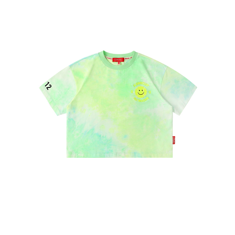 아이스비스킷 - Tennis smile tie-dye cropped t-shirt