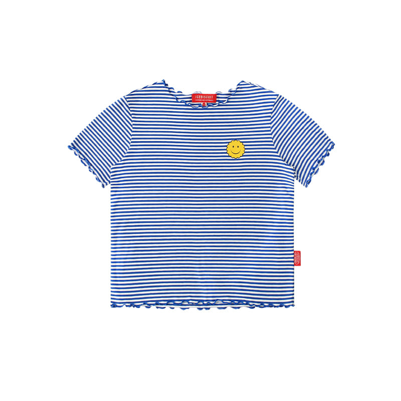 아이스비스킷 - Smile lettuce edge stripe t-shirt 20% sale