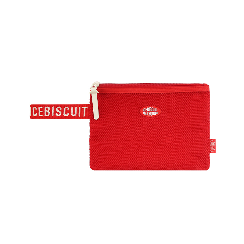 아이스비스킷 - Icebiscuit logo patch double pocket mesh pouch